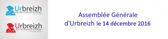 Assemblée Générale d'Urbreizh Association et Urbreizh Syndicat le 14 décembre 2014 à 20H00 dans les locaux de l'URPS Médecins libéraux  au 25 rue saint hélier à Rennes